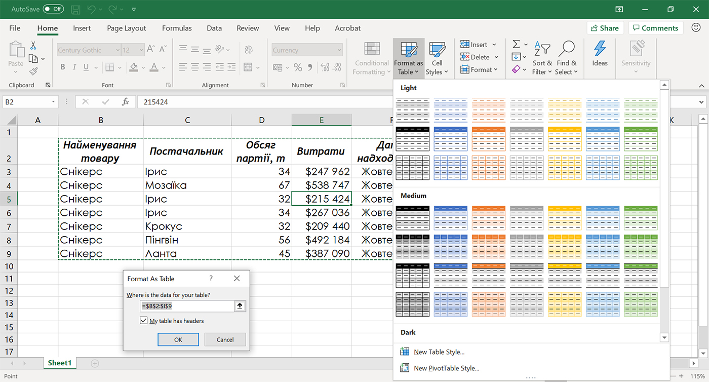 Створення таблиці Excel